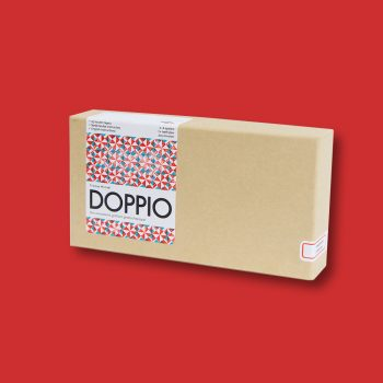 DOPPIO in vermiljoen rood en aquamarijn blauw; Michele Michele Games